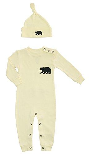 Hatley Coverall & Hat-Natural Little Bear Bum Pyjama, Ecru (Cream), 12 Mois (Taille Fabricant:6-12 Months) Mixte bébé