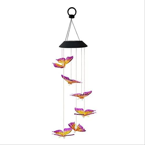 Luz De Carillón De Viento con Energía Solar, Luces De Jardín, Luz De Cristal De Mariposa Que Cambia De Color para Patio