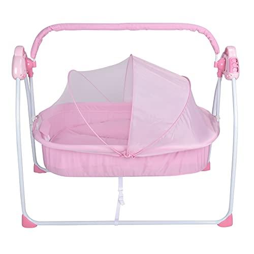 Cuna Infantil Bebe, Cuna Eléctrica Con 3 Velocidades Ajustables Para 0-18 Meses De Bebés, Función Bluetooth Y Reproducción De Música, (Rosa)