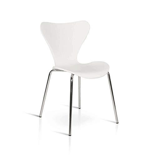 Milani Home s.r.l.s. Sedia Moderna di Design Bianca Struttura in Metallo Seduta E Schienale MDF per Arredo Cucina Sala da Pranzo Ristorante Bar