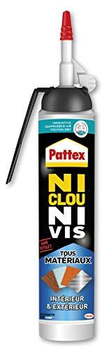 Pattex Ni Clou Ni Vis Tous Matériaux Intérieur & Extérieur, colle de fixation, colle forte tous supports, mastic blanc, Aérosol de 326 g