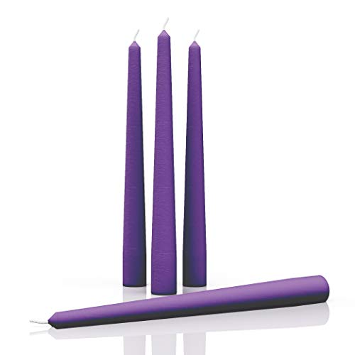 CANDWAX 10 inch Taper Candles Set of 4 - Dripless Taper Candles and Unscented Candlesticks - Perfect as Dinner Candles and Household Candles - Purple