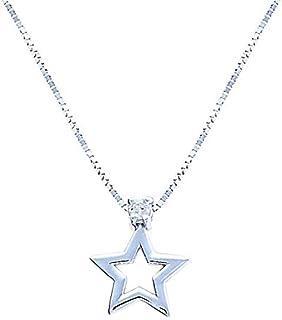 Anelie Gioielli - Collana Donna con Stella in Oro Bianco 18 carati 45cm, Catenina con Pendente con Diamante in Oro Bianco 750