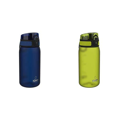 ion8 Leak Proof BPA Free, Botella de agua, sin BPS, a pueba de fugas, Azul (Frosted Navy), 350 ml + Leak Proof BPA Free, Botella de agua, sin BPS, a pueba de fugas, Verde (Frosted Green), 350 ml