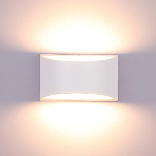 Glighone Dimmbar Wandlampe LED, 10W Weiß Aluminum Modern LED Wandleuchte Innen Licht Up Down Wandlicht für Badezimmer, Wohnzimmer, Schlafzimmer, Flur,Treppe -Warmweiß 3000K
