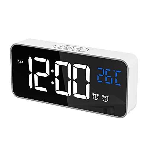 CHEREEKI Réveil Numérique, Horloge Numérique LED Horloge Digitale Réveil avec Température/Snooze/ 2 Alarme/12/24 Heures/Port de Recharge USB/13 musiques (Blanc)