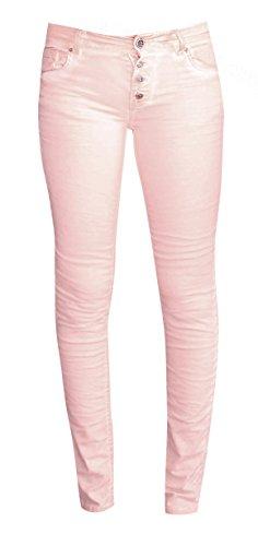 Coccara Damen Hose Non Denim Vintage Slim Fit Curly Button, Größe:W25 / L32, Farbe:CN6014 - Pink