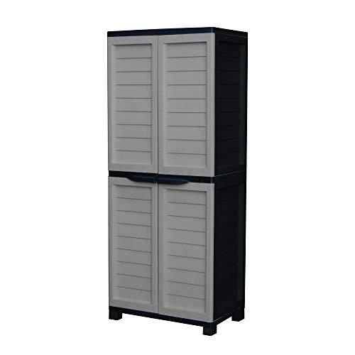 Starplast 88811 Vertical Partition & 4 Shelves, Silver/Black Storage Cabinet