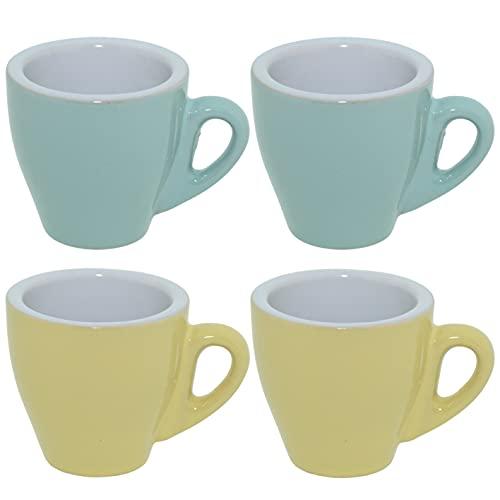 CREOFANT Espresso Tassen 4er Set · Tassen Set Pastellfarben · Kaffeebecher · Kaffeetassen Keramik · Pastell Becher (Türkis – Gelb)