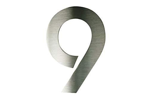 Hausnummer 9 Edelstahl ITC Bauhaus Design 2D rostfrei witterungsbeständig 20cm Höhe gebürsteter...