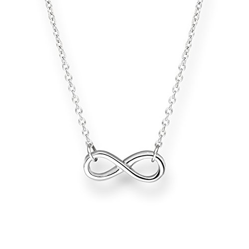 Glanzstücke München Damen-Halskette Infinity Sterling Silber 40 + 5 cm - Silberkette mit Unendlichkeit Zeichen Kette mit Anhänger Unendlichkeitssymbol