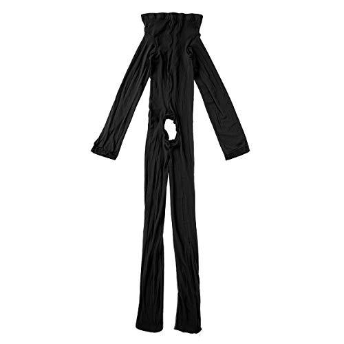 iiniim Herren Body Overall Transparent Einteiler Ganzkörperanzug Strumpfhosen mit Penishülle Männer Unterhemd Unterwäsche Schwarz Ouvert Einheitsgröße