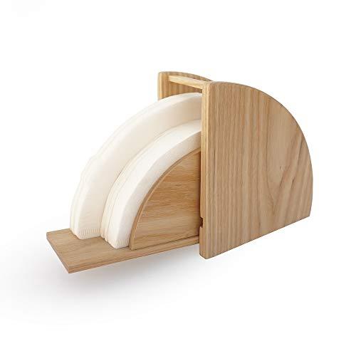 V60 Filterpapier Aufbewahrungsbox konisch Flanellat Holz Kaffeefilter Papierhalter