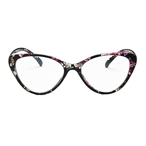 LeftSuper Gafas de Sol Montura de espectáculo Retro Gafas de Moda con Personalidad Montura de espectáculo de Ojo de Gato Europeo Montura de miopía Lente