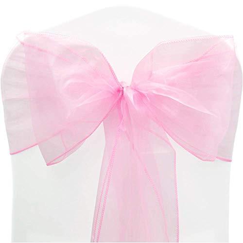 Time to Sparkle - 100 Lazos de Organza para Cubrir sillas de 22 x 280 cm, Lazos más Anchos para Banquetes de Boda, decoración de Fiesta, 14, Color Rosa pálido