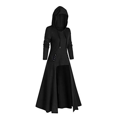 KEERADS - Disfraz medieval para mujer, vestido maxi vintage, retro, disfraz de renacentista, largo, disfraz de Halloween, con capucha, Navidad, cosplay, vestido de fiesta, suter Negro XXL