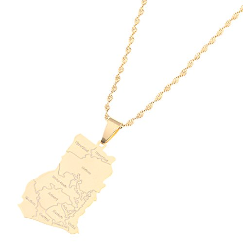 Stainless Steel Ghana Map Pendant Necklaces Charm Ghanaian Jewelry Gifts