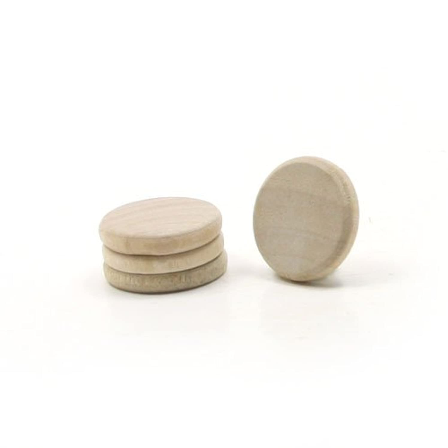 Mylittlewoodshop Pkg of 100 - Round Circle Disk - 3/4 inches in diameter and 1/8 inch thick unfinished wood (WW-JC5712-100)