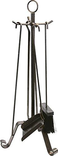 k2calore KT0574–Set di 4pezzi per camino, ferro battuto, 28x 58cm