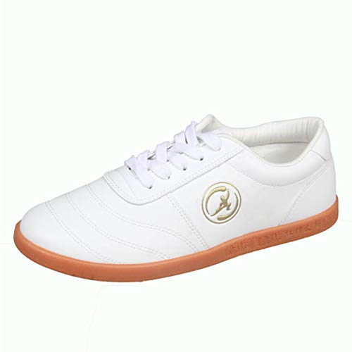 Meng Zapatos de Taekwondo Cuero de Zapatillas de Gimnasio de Artes Marciales para Adultos (Color : White, Size : 40)