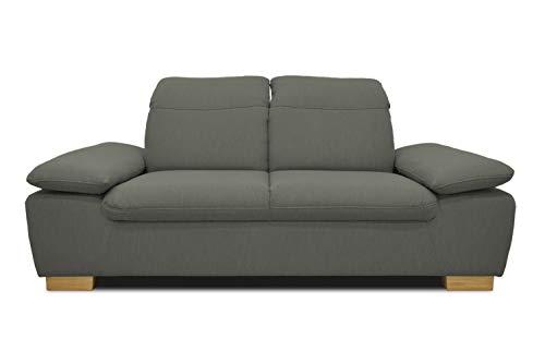 DOMO. collection Maven Sofa, 2-Sitzer Couch mit Arm- und Rückenfunktion, Garnitur mit Federkern und Relaxfunktion, grau, 195x110x77