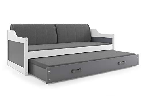 Interbeds Funktionsbett Doppelbett DAVID 190x80cm Fabre: Weiβ mit Lattenroste, Matratzen und Kissen (grau)