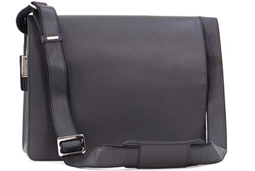 VISCONTI - 18548 Men's Leather Messenger / Shoulder Bag - Laptop Compatible for Work Bag - Harvard - Oil Black