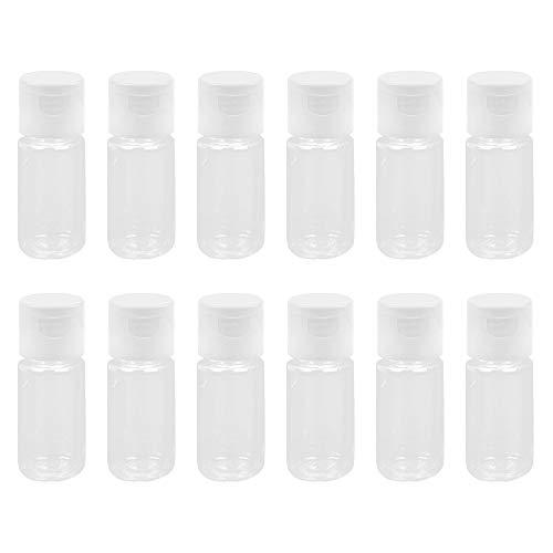 WhyTin 12Pcs 10ml Lot de flacons de Lotion en Plastique Transparent vides avec Bouchons à Rabat pour lotions, crèmes, Gel Douche, après-shampoing