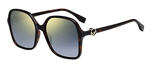 Fendi FF0287 / S Gafas de sol w / 58mm degradado gris lente de espejo de oro 086FQ FF0287S FF FF 0287 0287S / S mujer oscuro Habana Grande