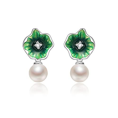 GUOQUN-SHOP Conjunto Pendientes de Perlas 925 Pendientes de Perlas de Agua Dulce de Plata 5-6mm Pendientes de Hoja Redonda Redonda Blanca para Mujer de Oreja para Mujer