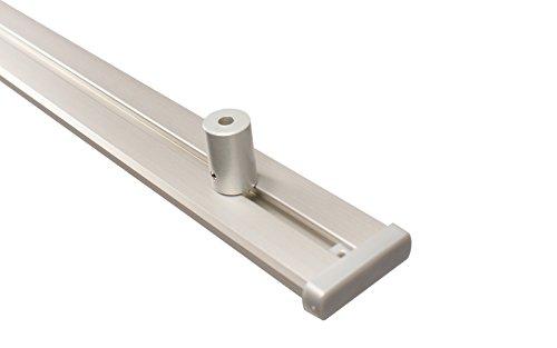 Gardinenschienen 2 läufig aus Aluminium in alu Silber mit Deckenträger, 200 cm