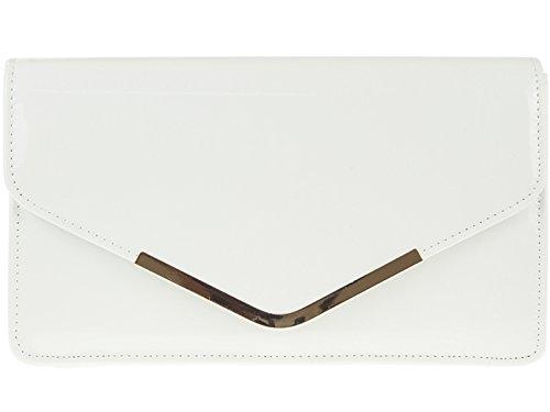 fi9® - Borsa a mano con tracolla, clutch in pelle verniciata, per matrimoni o da sera, Bianco