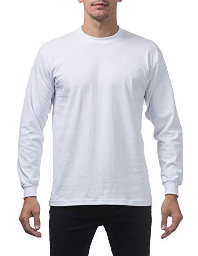 Pro Club Men's Heavyweight Cotton Long Sleeve Crew Neck T-Shirt, Large, Snow White