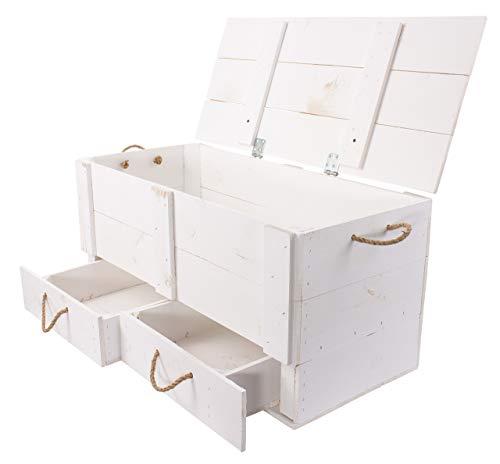 Truhenbank weiß mit Deckel + 2 Schubladen | 85 x 39 x 40 cm | stabile Holztruhe zum sitzen & verstauen für Flur, Schlaf- u. Wohnraum