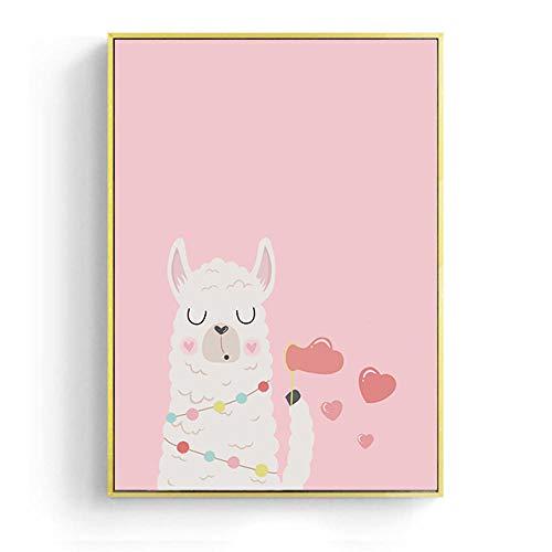 hdbklhjxk baby poster dier alpaca liefde canvas schilderij kinderkamer wandkunst prints roze wandafbeeldingen voor baby meisjes slaapkamer decoratie 40x60cm zonder lijst