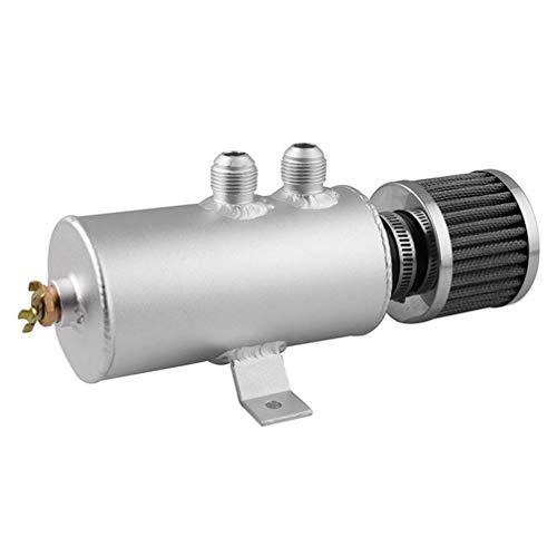 Garneck 0.75L Universele Aluminium Auto Verborgen Motorolie Vangbak Kan 2 AN10 Twin Port Breather Filter Zwart 24*7.4cm ZILVER