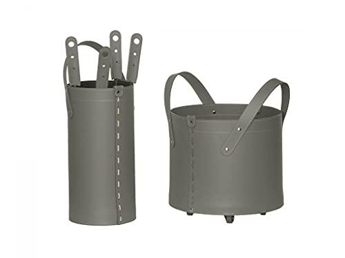 TOCAD: Accessoires pour le cheminée en cuir de couleur Gris Tourterelle, Porte-Bûches, Serviteur 4 pièces, Made in Italy, Design Firestyle®.