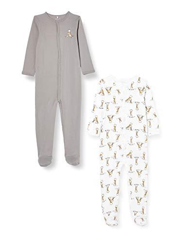 NAME IT Unisex Baby Nbnnightsuit 2p W/F Alloy Giraffe Noos Kleinkind-Schlafanzüge, 56 (2er Pack)