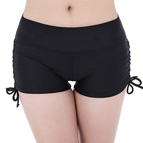 Kfnire Bañador Short Mujer, Deportivo Pantalones Cortos de Natación con cordón Ajustable Estilo Pantalones de Baño/Pantalones de Yoga (EU XS = Tag S, Negro)