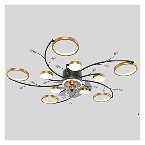Hong Yi Fei-Shop Lámpara de Techo Ventilador de Techo con Luces y Control Remoto,velocidades de 3 Colores dimmables de 3 Colores,Ventilador de Perfil bajo de Montaje Semi. LED lámpara de Techo