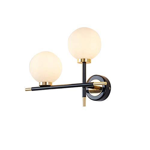 MZStech 2-Licht-Wandleuchten im postmodernen Stil, weiße Glaskugel mit schwarz-goldener Metallwandlampe, 2-Wege-Wandleuchte für das Bett, 2 LED-Lampen enthalten. (A-Links)