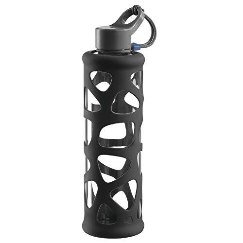 Leonardo 028916 In Giro To Go Trinkflasche, Borosilikatglas, Schutzhülle, spülmaschinenfest, 700 ml, stoßfest anthrazit