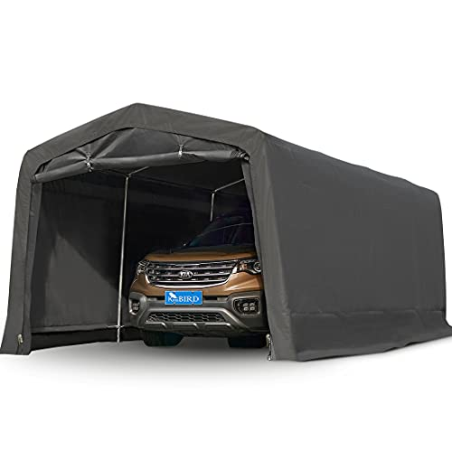 KING BIRD 10' x 15' Heavy Duty Anti-Snow Garage, Peak Style Roof Carport Instant Garage with Reinforced Ground Bars