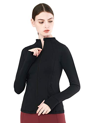 Zeronic Women's Lightweight Full Zip-up Yoga Jacket Workout Running Track Activewear Coat with Thumb Holes(Black,XS)