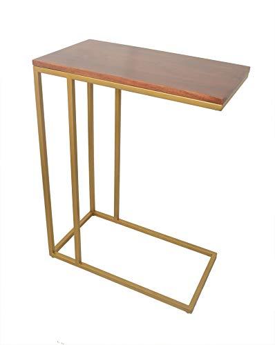 Aspect Romy C-Sofa - Mesa Lateral de Madera de Acacia, Marco Superior de 51 x 28 x 66 cm, Acero de aleación, Color marrón y Dorado