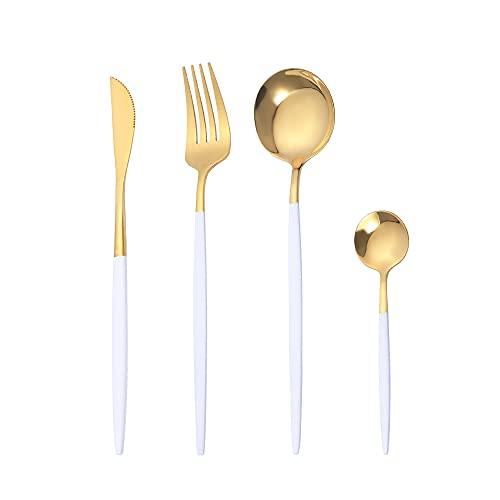 OUQIWEN Juego de cubiertos, 8 piezas juego de cubiertos de acero inoxidable blanco y dorado de , Juego de cubiertos de oro blanco,Incluyendo cuchillo / tenedor / cuchara / cucharadita,para 2 p