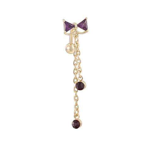 MENGzhuHSA Moda Médico Acero Inoxidable Botón Body Body Joyería Piercing Crystal Bow-Knot Umbilical Umbilical Nail Pendientes Cuerpo Joyería Anillo en el Ombligo (Metal Color : Gold Purple)