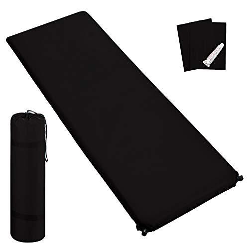 Outdoor Isomatte, selbstaufblasend, ca. 2 m Länge, inkl. Flick Set - selbstaufblasbare Luftmatratze geeignet zum Camping und fürs Zelt mit kleinem Packmaß (schwarz, 3 cm Polsterdicke)