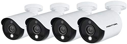 Night Owl Wired 5MP HD Indoor/Outdoor Add-on Cameras with Built-in Motion-Activated Spotlights, 100 ft. of Night Vision, 100° Wide Viewing Angle and L2 Color Boost Technology (4-Pack)
