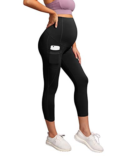 Maternity Mesh Yoga Leggings Over Bump Yoga Pants for Workout Running Fitness